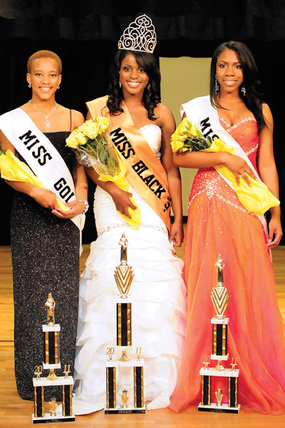 left to right) Keonte Dotson, Chelsey Wilson and DeJacquanisha Nash stand as the winners of the Black and Gold pageant. Wilson took the crown as queen.