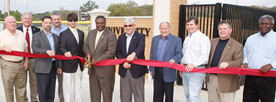 Officials from ULM, the City of Monroe, and northeast Louisiana cut the ribbon on ULM's University Park.