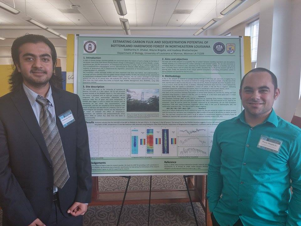 Wayne Brigalia (right) and Siddhardha Dhakal (left) standing with their Carbon Flux Research Project Board at the Southeastern Ecology and Evolution Conference that was hosted at The University of Georgia at Athens March 13-15.
