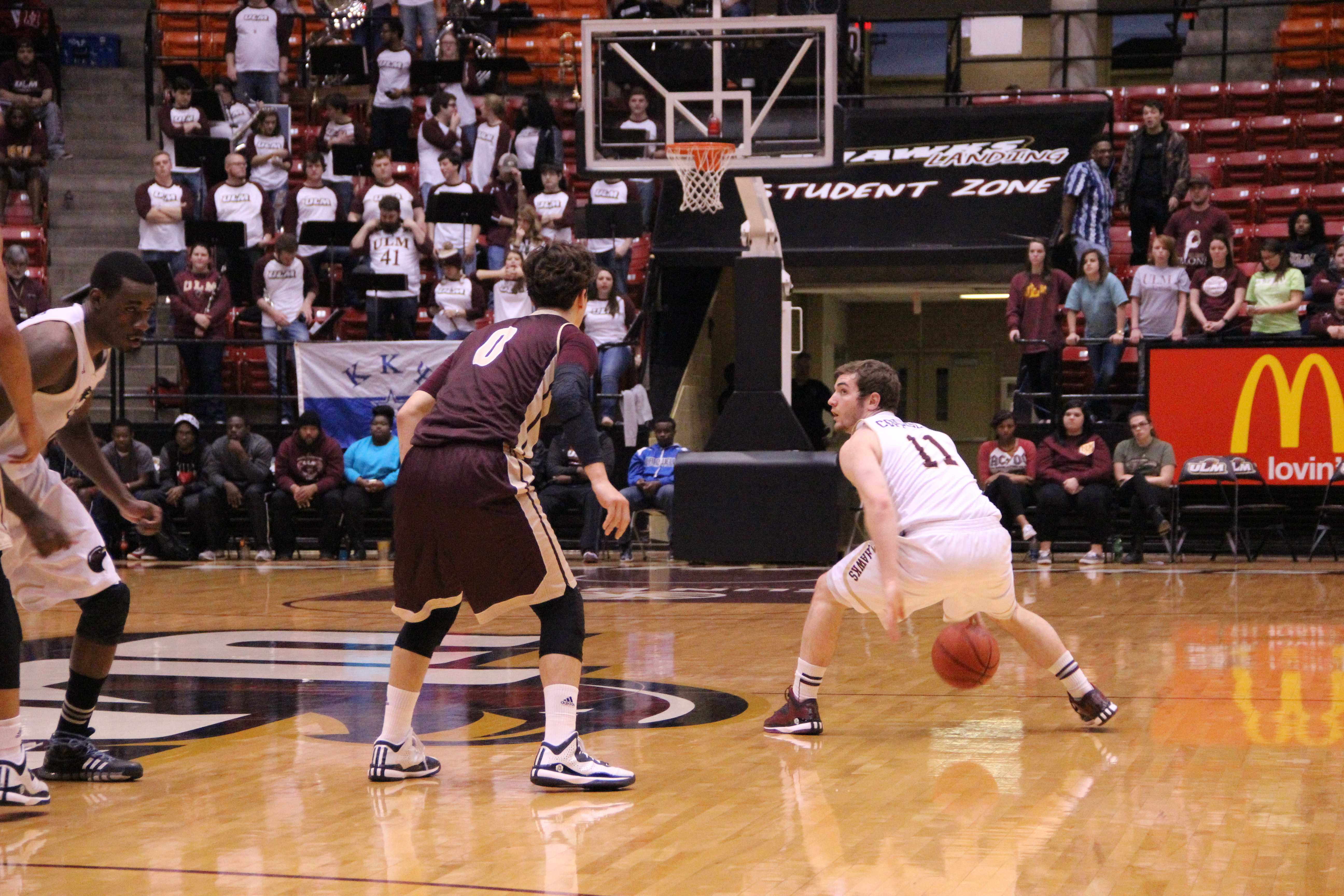 Guard Nick Coppolo crosses over during the Warhawks' win over Texas State Saturday He finished with eight points and seven boards. photo by Anthony Cotton