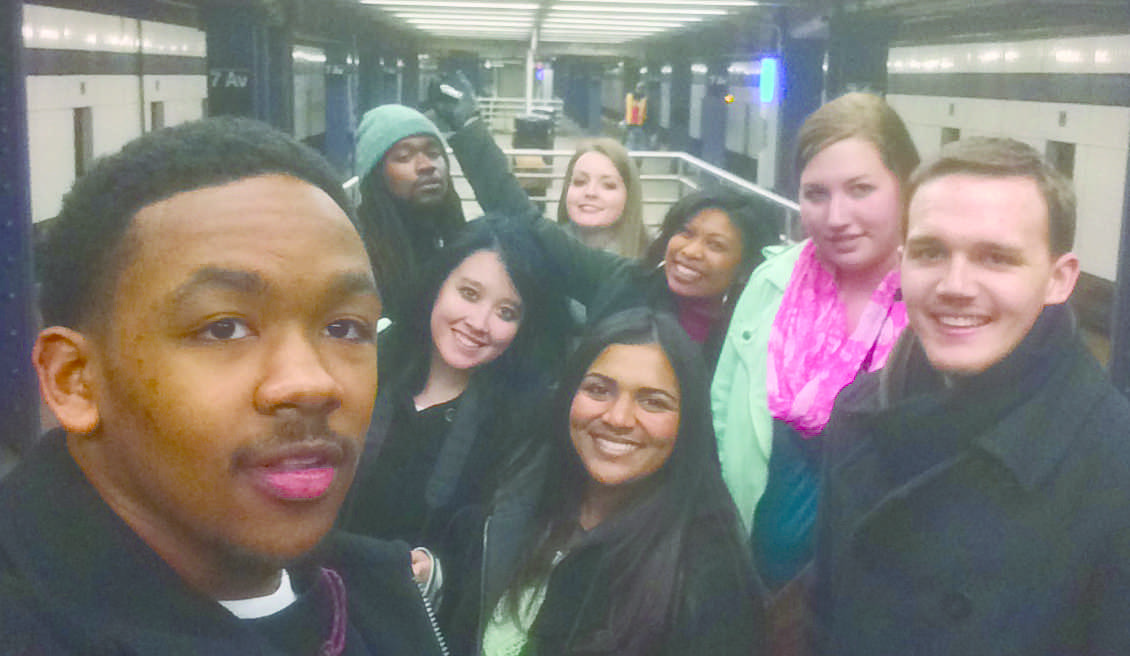 The Hawkeye staff taking a selfie in New York subway.