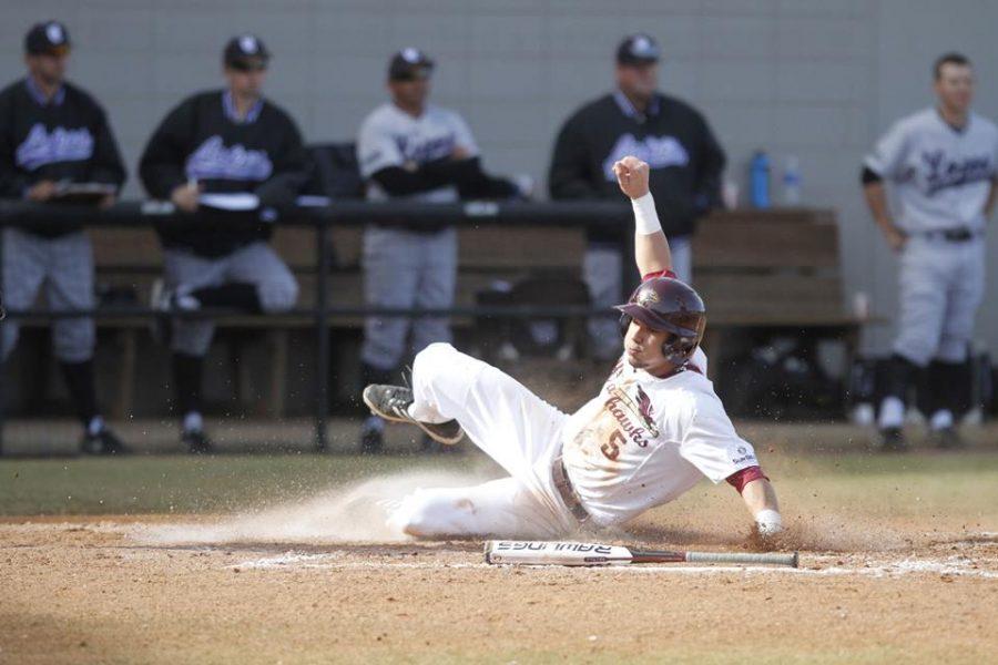 Baseball swings for fences