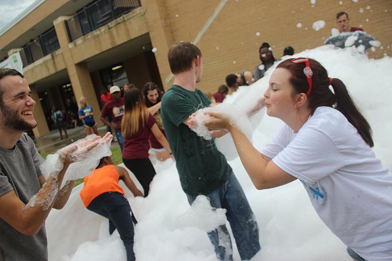 Flurry foam fun forms playful frenzy in quad