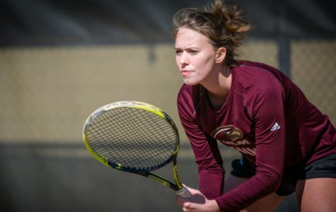Luana Stanciu prepares to return a serve from her opponent during the rival match against UL-Lafayette.