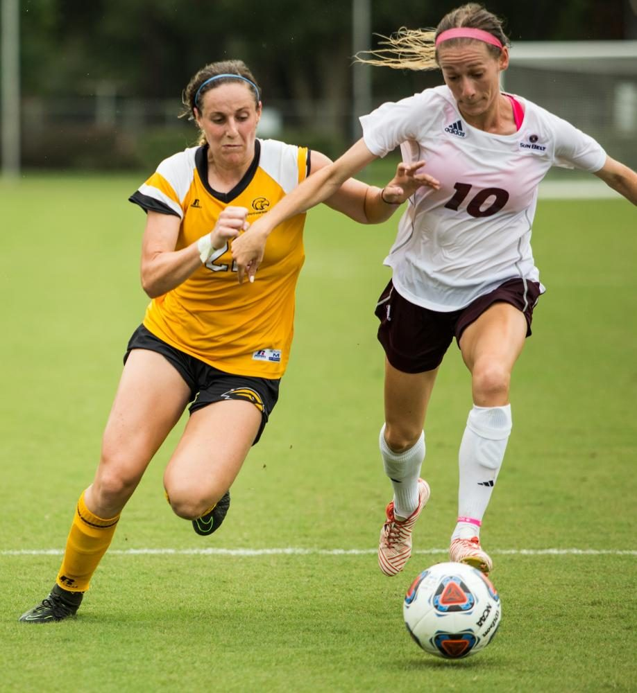 Alexandria Skidmore makes a play on the ball against a Southern Miss defender.