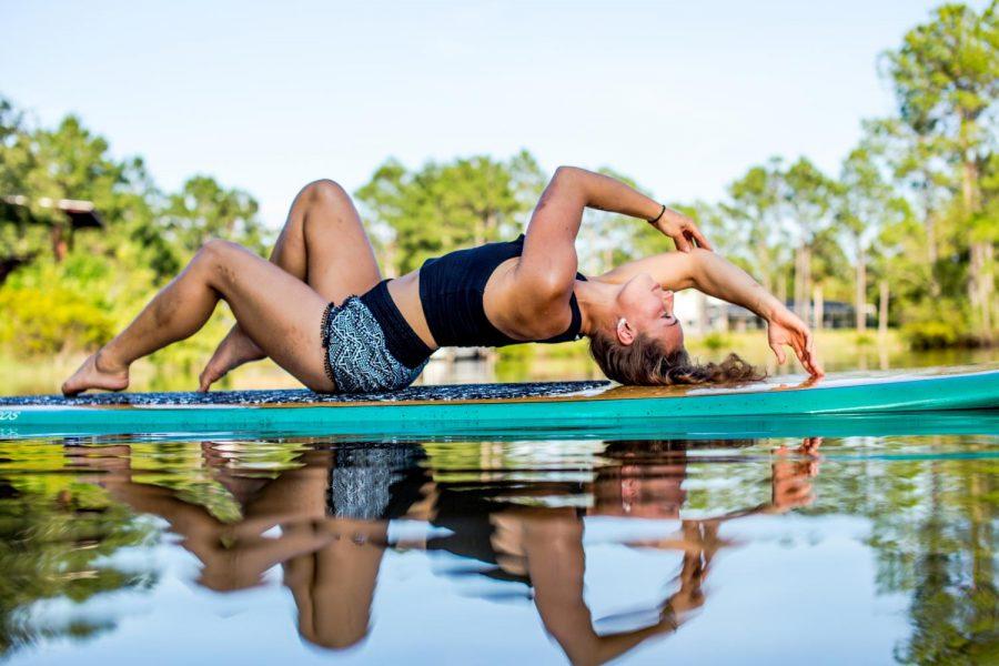 COOL AND CALM: Katerina Svecova does yoga on a paddleboard.