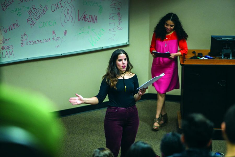 """UNTIL THE VIOLENCE STOPS: Rebekah Barnes (left) performs """"Because he likes to look at it"""" along with Vanelis Rivera."""