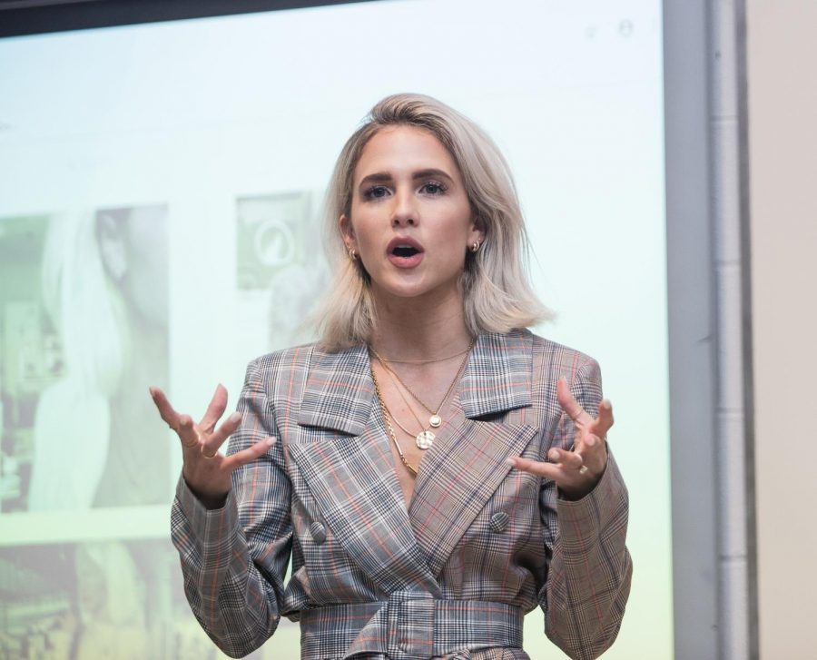 Fashion influencers visit with students