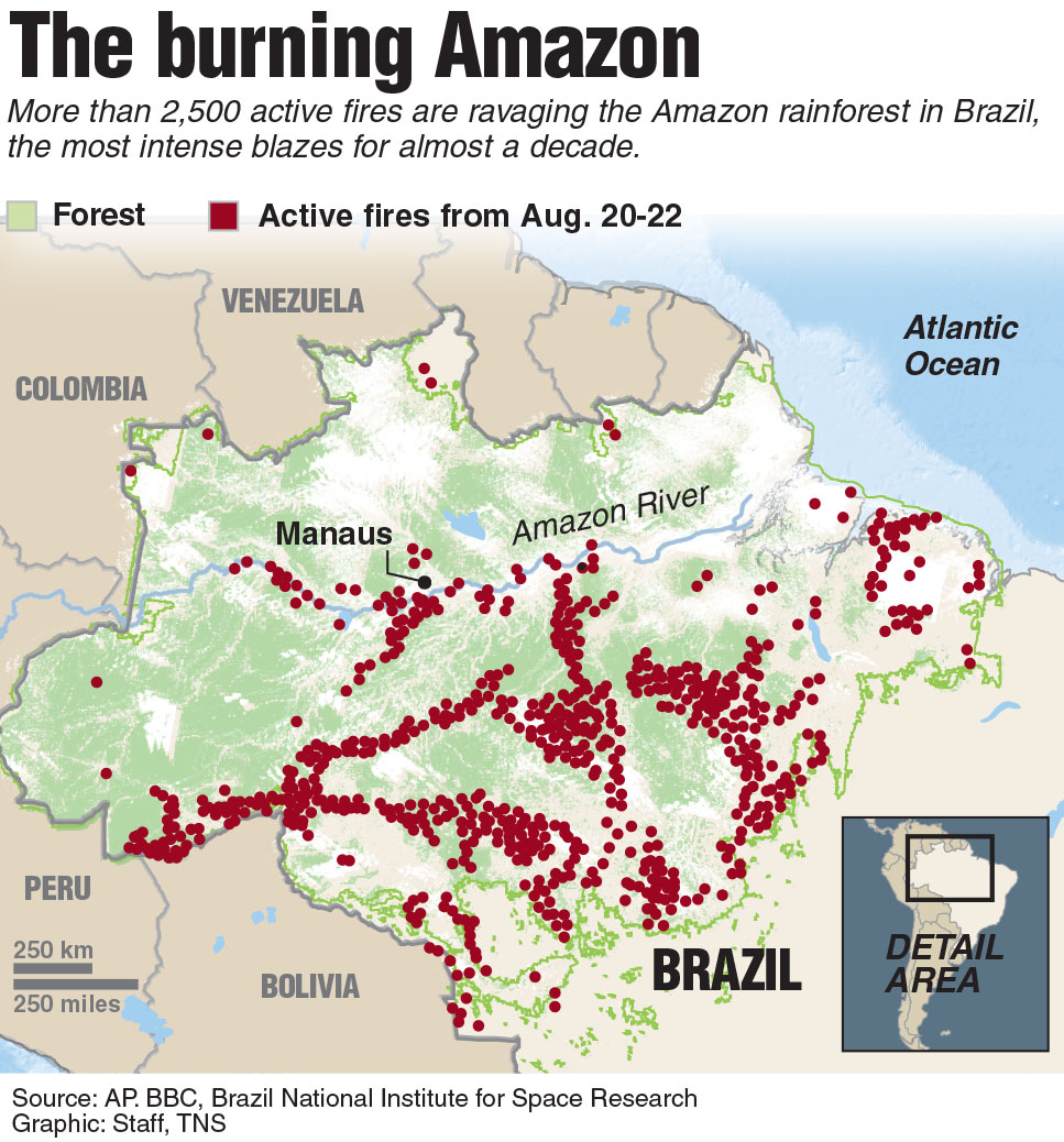 Map showing the Amazon fires.