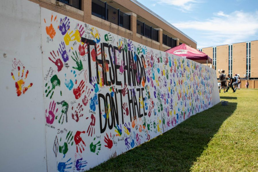 Handprints against hazing