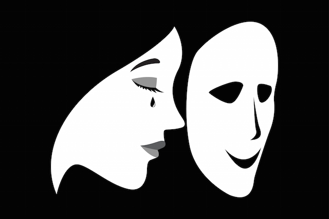 Concept illustration of a crying woman with a smilling mask in front of her face