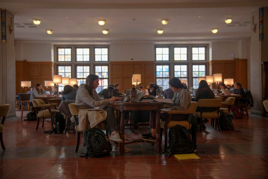 Students study together at the Michigan Union on University of Michigan Campus on Thursday, March 12, 2020, the day after The World Health Organization declared the coronavirus to be a pandemic. The day before all of Michigan's 15 public universities announced they will move to online classes and encourage their students to return home.